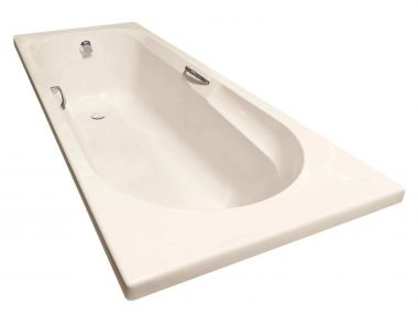 Coral Almond Built-in Straight Bath with Handles - 1700 x 700mm