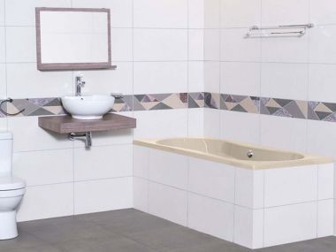 Origami Almond Built-in Straight Bath - 1800 x 810mm