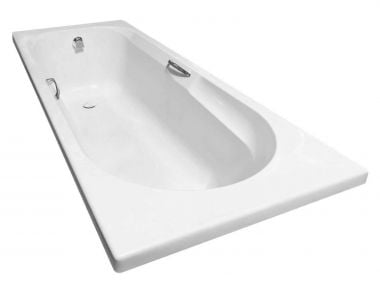 Coral White Built-in Straight Bath with Handles - 1700 x 700mm