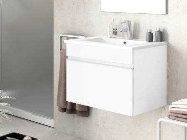 Cubo White Wall Hung Cabinet & Basin - 450 x 595 x 460mm