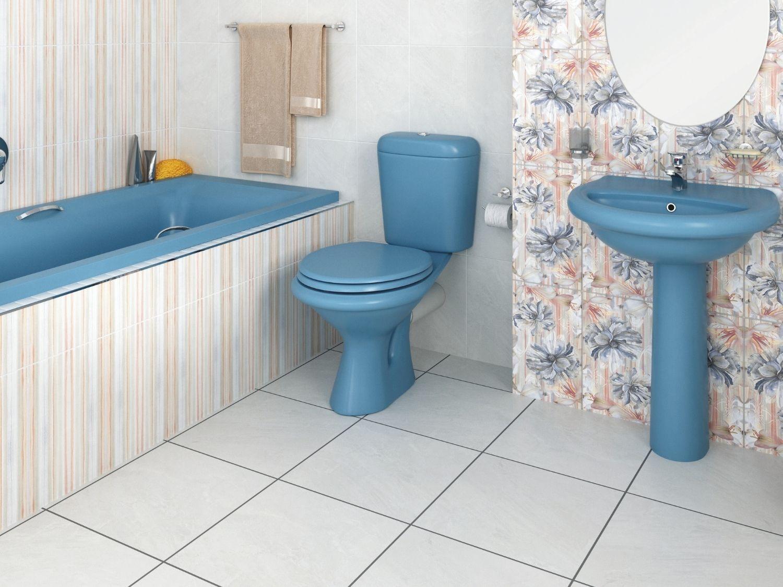 Coral Bermuda Top Flush Toilet Set With Basin, Pedestal & Coral Bath