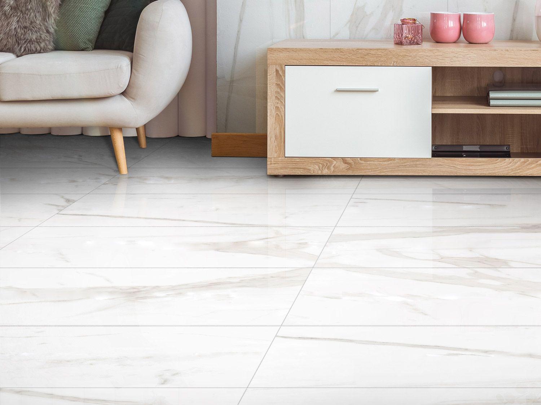 Maxmarble White Rectified Shiny Glazed Porcelain Floor Tile 595 X 1195mm