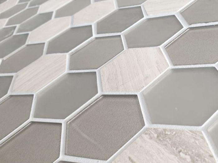 Metallic Hexagonal Glass And Marble Mosaic - 323 x 315mm