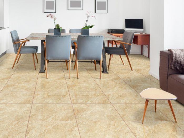 Lotus Ivory Shiny Ceramic Floor Tile - 430 x 430mm