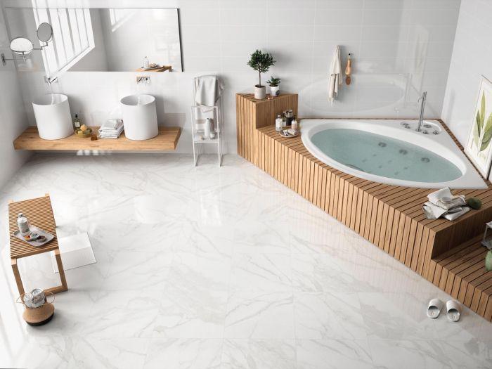 Slim Calacatta Blanco Brillo Porcelain Floor Tile - 600 x 600mm