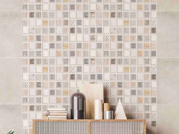 Urban Patchwork Grey Feature Matt Ceramic Wall Tile - 400 x 250mm