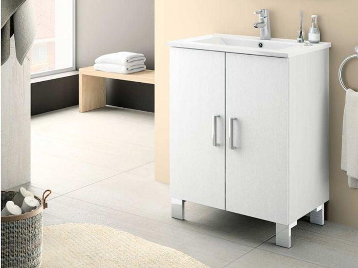 Vienna White Floor Standing Cabinet & Basin White - 600mm